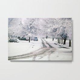 Winter on Beechwood Lane Metal Print