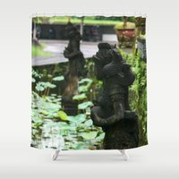 hindu Shower Curtains featuring Bali - Hindu Goddess Statues by gdesai