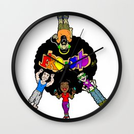 FRO-SHO! A Retro-Future visual cartoon promoting peace, unity and coexistence! Wall Clock