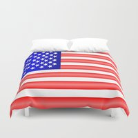 american flag Duvet Covers featuring American Flag by Justbyjulie