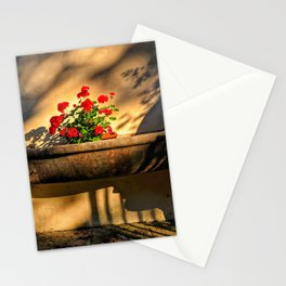 Geraniums in European marble holder Stationery Cards
