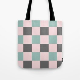 Contemporary Mint Pink Gray Gingham Pattern-Mix and Match Tote Bag