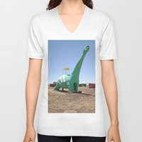 dino V-neck T-shirts featuring dino by Natalie Jeffcott
