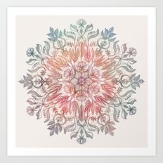 Autumn Spice Mandala in Coral, Cream and Rose Art Print