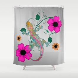 Groovy Gekko with Flowers Shower Curtain