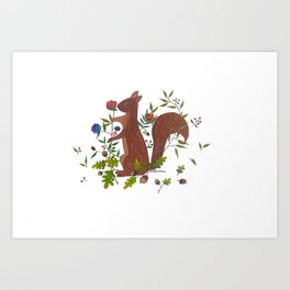 A Flower from Little Squirrel Art Print