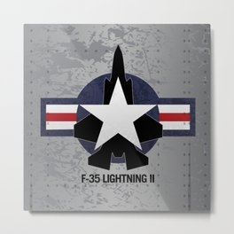 F35 Fighter Jet Airplane - F-35 Lightning II Metal Print