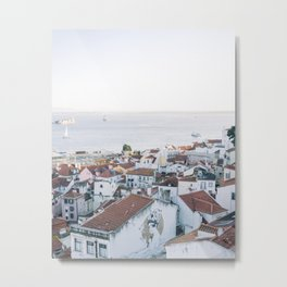 Lisbon vista ᝢ white city view fine art travel photo Portugal Europe photography print Metal Print
