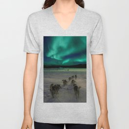 Winter Northern Lights Dog Sled (Color) Unisex V-Neck
