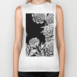 FLOWERS IN BLACK AND WHITE Biker Tank