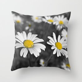 Patch of shasta daisies and a little white spider, in Black and white color pop Throw Pillow