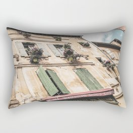 French Cafe | Colorful Pizzeria Creperie Restaurant Red Awning Old Building Architecture Rectangular Pillow