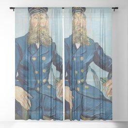 Vincent van Gogh - Portrait of Joseph Roulin Sheer Curtain