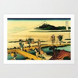 Porters Unloading Boat Mount Fuji Japan Art Print