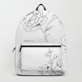 Black-and-white Arrangement of Flowers and Leaves . Home Decor Backpack