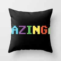 bazinga Throw Pillows featuring BAZINGA! by StrangerDays