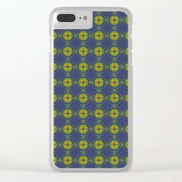 ANTIUM orange green grey and navy pattern Clear iPhone Case