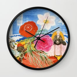 Red Poppies, Calla Lilies, Peonies & NYC Family Portrait by Florine Stettheimer Wall Clock