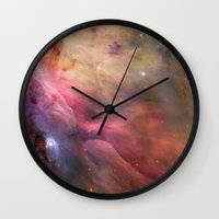 nasa Wall Clocks featuring Nebula star Orion galaxy hipster NASA space and stars photo by iGallery