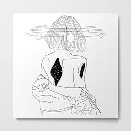 Girl carrying space in herself Metal Print