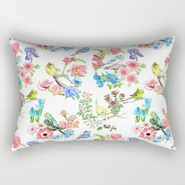 Budgies and Blooms Rectangular Pillow