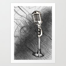 Vintage microphone + Shaded background Art Print