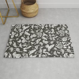 Birds of NZ Charcoal & White  Rug