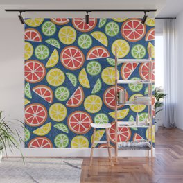Vitamin C Super Boost - Citric Fruits on Blue Wall Mural