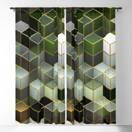 Cubes in Green Blackout Curtain