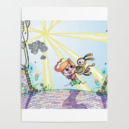 Laughing Along the Path - One Boy and a Toy Poster