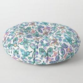 Watercolor Fruit Patterned Butterflies - Forest Green, Orange, Purple - custom request Floor Pillow
