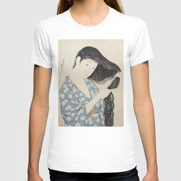 Hashiguchi Goyo: Woman Combing Her Hair Japanese Woodblock Print Blue Floral Kimono Black Hair T-shirt