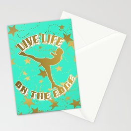 Figure Skating Live Life on the Edge in Aqua  with Gold Stars Design Stationery Cards