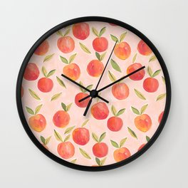 Peaches gouache painting Wall Clock