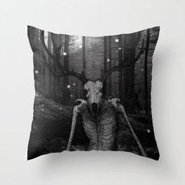 Wendigo Black and White Illustration Throw Pillow