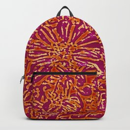 Marigold Lino Cut, Batik Red And Purple Backpack