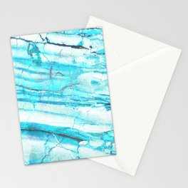 White Marble with Blue Green Veins Stationery Cards