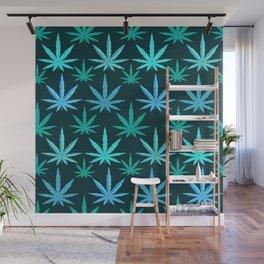 Marijuana Teal Weed Wall Mural