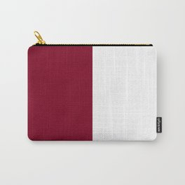 White and Burgundy Red Vertical Halves Carry-All Pouch