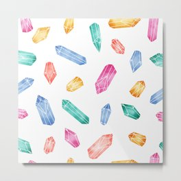 Crystals pattern - White2 Metal Print