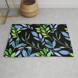 Blue and Green Leaves Rug
