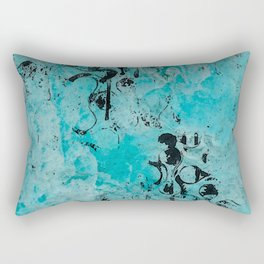 Turquoise Marble Stone with Black Ink overlay design Rectangular Pillow