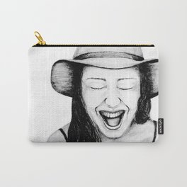 So Amused! Expressions of Happiness Series -Black and White Original Sketch Drawing, pencil/charcoal Carry-All Pouch