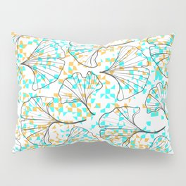 grid in yellow and blue and petals Pillow Sham