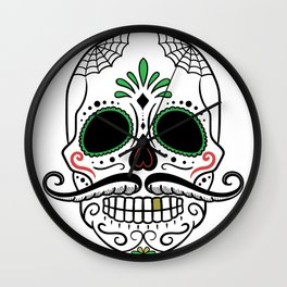 Day Dead Sugar Skull Wall Clock