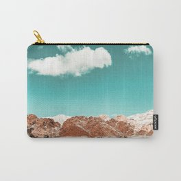 Vintage Red Rocks // Snow in the Mojave Desert Clouds Teal Sky Mountain Range Landscape Carry-All Pouch