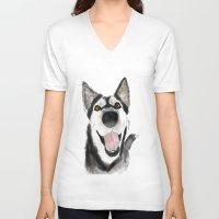 husky V-neck T-shirts featuring husky by Lupita Lopez