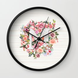Initial Letter M Watercolor Flower Wall Clock