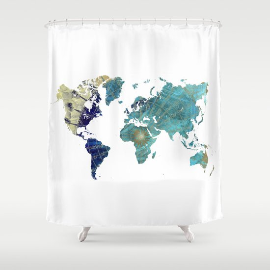World Map Wind Rose Shower Curtain By Jbjart