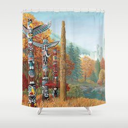 Vancouver Two Worlds Collide Landscape Painting Shower Curtain